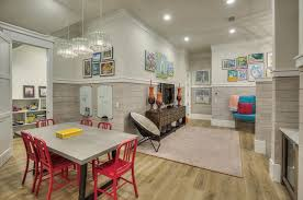 eclectic playroom with crown molding carpet palmetto porcelain