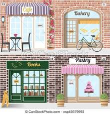 Set Different Facades Bakery Cafe Bookshop And Pastry Shop Vector