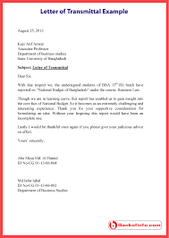 Letter of Transmittal Example Template Sample Format
