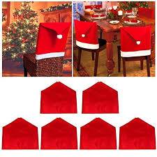 Jentay Christmas Decorations Santa Hat Chair Back Covers Dining Room Set Of 6 Red