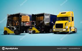100 Commercial Truck Paper Modern Concept Loading Unloading Cargo Boxes Yellow