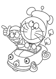 Doraemon In Car Coloring Pages For Kids Printable Free