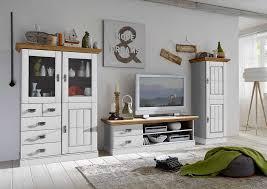 wohnzimmer landhaus tv kombination fjord weiß gelaugt geölt highboard mit glastüren 118 5 x 163 5 x 48 cm weiß gelaugt geölt