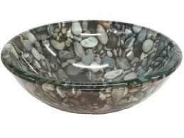 eden bath 14 natural pebble pattern glass vessel sink