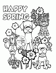 Cute Dogs And Spring Coloring Page For Kids Seasons Pages Printables Free