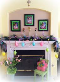 Using My Christmas Garland For Spring Easter Decorations Springtime Fireplace