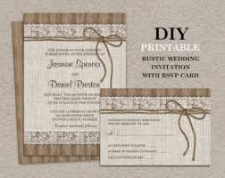 Burlap And Lace Wedding Invitation With RSVP Card Printable Rustic