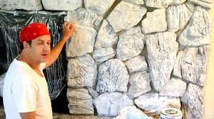 How to paint update an old stone or brick fireplace or wall