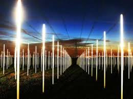 artist created network of bulbs that lit up from power line