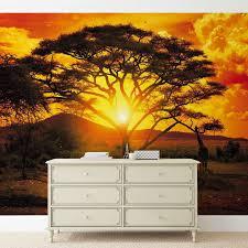 sonnenuntergang afrika natur baum fototapete