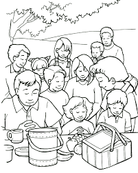 Jesus Feeds A Crowd Coloring Page