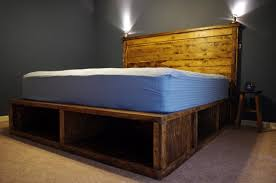 bedroom reclamed wood platform bed using headboard with light and