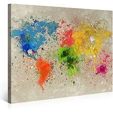 picanova weltkarte aquarell explosion 100x75cm premium leinwanddruck kunstdruck auf 2cm holz keilrahmen für schlaf und wohnzimmer druck auf