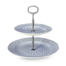 Blue Felicity 2 Tier Cake Stand 17 5cm & 25cm Gift Boxed