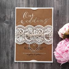 Golden Country Lace With Twine Wedding Invitation Card