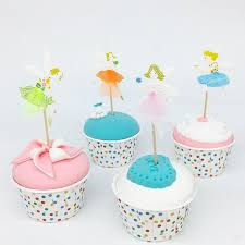 8pcs Floral Fairy Cake Cupcake Toppers Baby Shower Birthday Wedding Decoration Party Supplies