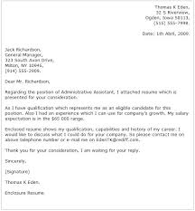 Administrative Cover Letter For Resume Example 1 Position