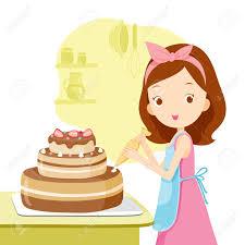 Girl Making Cake Kitchen Kitchenware Crockery Cooking Food Bakery