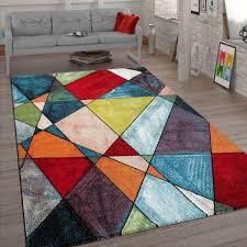 wohnzimmer teppich geometrisches design bunt