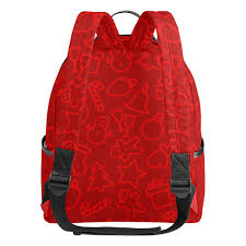 Amazoncom Red Christmas School Backpack Canvas Rucksack Large