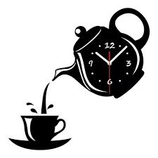 vova diy acryl kaffeetasse teekanne 3d wanduhr dekorative