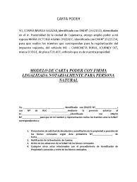 Carta Poder Llena Ejemplo Carta Poder Descripci 243 N
