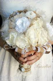 Rustic Wedding Flowers Bridal Bouquet Burlap Silk Flower Bridesmaid Brooch