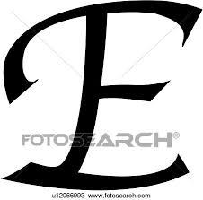Clipart of alphabet block calligraphy capital chisel e
