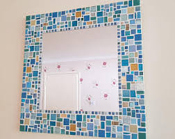 Blue Mosaic Bathroom Mirror by Mosaic Home Decor Etsy