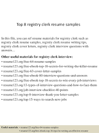 Top 8 Registry Clerk Resume Samples In This File You Can Ref Materials For