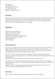 Resume Templates Fitness Club Manager