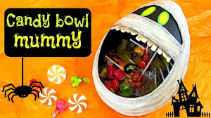 Halloween Candy Dish by Diy Halloween Crafts Candy Bowl Mummy Youtube