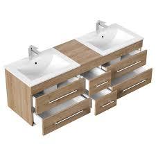 badmöbel set in eiche hell newland 02 waschtisch mit 2 waschbecken led spiegelschrank hochschrank b h t ca 208 200 47 cm