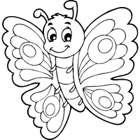 Cute Butterfly Drawing At GetDrawings Informative Cartoon Butterflies Coloring Pages