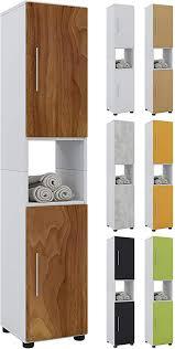 vcm hochschrank badschrank standschrank bad badmöbel schrank badezimmer regal weiß kern nussbaum 152x31x30 cm hebola