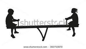 Girl And Boy Playing Seesaw Silhouette Vector