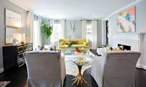 Low Ceiling Living Room With Bright Yellow Sofa