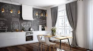 Fabulous Chalkboard Backsplash Ideas With Grey Curtain For Minimalist Kitchen Decor