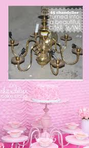 DIY Cake Stand Gorgeous} centerpiece made from an old Chandelier