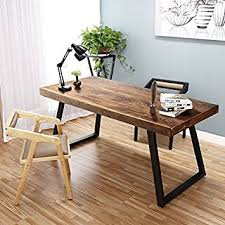 Tribesigns 55quot Solid Wood Computer Desk Rustic Desks With Heavy Duty Metal Base