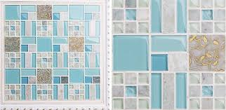 blue glass mosaic tile backsplash kitchen wall sticker sgmt039
