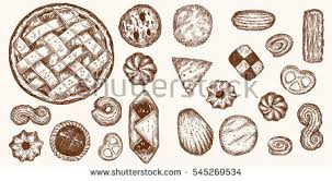 Different shapes and kinds cookies and bakery goods isolated on background elements for design