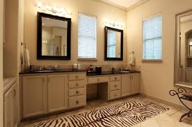 lovely bathroom vanity with makeup counter and double sink