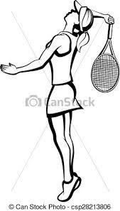 Female tennis player serving Black and white illustration