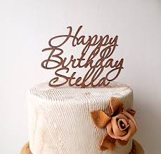 Personalized Happy Birthday Cake Topper Custom Wooden Rustic Party