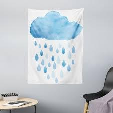 wandteppich aus weiches mikrofaser stoff für das wohn und schlafzimmer abakuhaus rechteckig blau weiss regen tropfen und wolken kaufen
