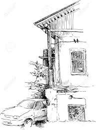 urban sketch drawing backyard old house and car hand drawn vector illustration Stock