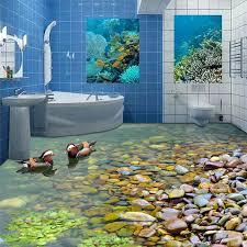 nach 3d boden tapete badezimmer küche 3d pvc boden wandbild selbst adhesive verdickt tapete wasserdichte mandarin ente bade