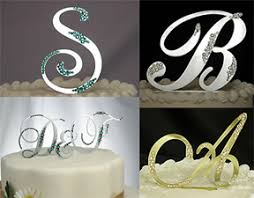 Custom Crystal Monogram Cake Toppers Initial Cake Toppers