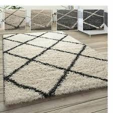 details zu hochflor teppich weicher wohnzimmer shaggy skandinavischer stil m rautenmuster